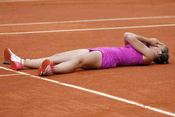 Errani of Italy reacts after winning her women's semi-final match against Stosur of Australia at the French Open tennis tournament at the Roland Garros stadium in Paris