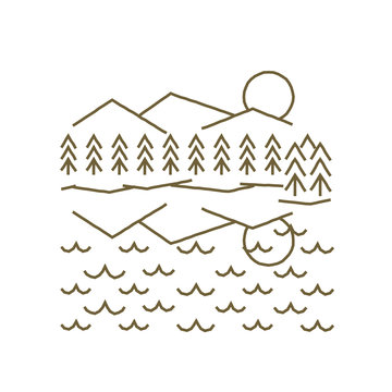 Mountains & trees reflected in a lake or ocean in a simple rough simple line drawing
