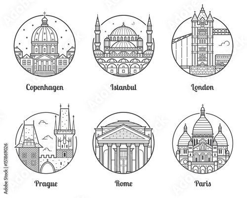 Main Europe Cities Icons Including London Rome Prague Istanbul