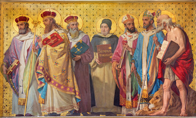 Wall Mural - TURIN, ITALY - MARCH 15, 2017: The symbolic fresco of holy doctors of the church with the in church Chiesa di San Dalmazzo by Enrico Reffo (1831-1917).