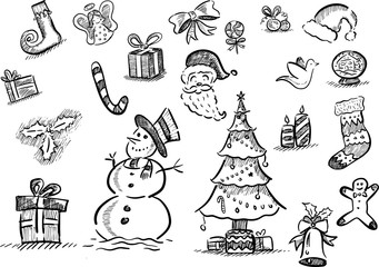Hand drawn set of Christmas doodles with elegant hatched strokes