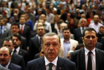 Turkey's Prime Minister Tayyip Erdogan attends a meeting in Ankara