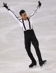 Amodio of France performs his men's free skating program at the Bompard Trophy ISU Grand Prix figure skating competition in Paris