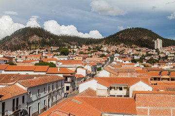 Aerial view of Sucre, capital of Bolivia