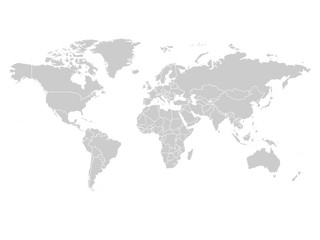 World map in grey color on white background. High detail blank political map. Vector illustration with labeled compound path of each country. Wall mural
