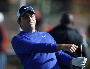 Francesco Molinari of Italy watches a tee shot during a practice round for the WGC-Accenture Matchplay Championships golf tournament in Marana