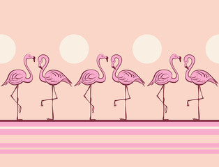 Pink flamingos. Tropical print. Pop art style. Vector pattern. Border.