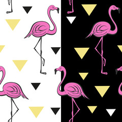 Pink flamingos. Tropical vector print. Pop art style. Seamless pattern.