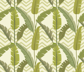 Banana leaves. Tropical print. Exotic seamless pattern. Zigzag background. Vector wallpaper.