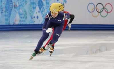 South Korea's Shim Suk Hee skates to win the women's 3,000 metres short track speed skating relay final event at the Iceberg  Skating Palace during the 2014 Sochi Winter Olympics