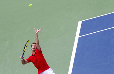 France's Gasquet serves at the Rogers Cup tennis tournament in Montreal