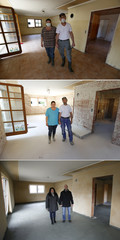 A combination of three images shows Manuela and Herbert Schmid posing for a picture in their flood-affected living room in Fischerdorf, a suburb of the eastern Bavarian city of Deggendorf