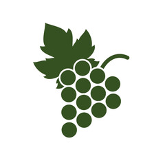 Bunch of grapes with leaf flat icon on the white background.
