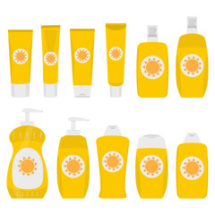 Bottles and tubes of sunscreen cream with lid, spray and dispenser. Skin care and protection. Sunscreen protection sun care cosmetics containers orange set. Vector illustration