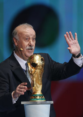 Bosque waves his hand during the draw for the 2014 World Cup in Sao Joao da Mata