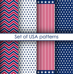 Set of stars and stripes seamless patterns. USA Independence day and Memorial Day festive vector repeatable textures based on american flag.