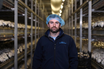 Kevin Reilly, owner of Reilly Mushrooms poses for a picture on his mushroom farm in Athlone