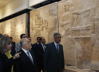 Iraqi Prime Minister Haider al-Abadi visits the Iraqi National Museum in Baghdad