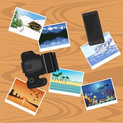 photocamera, smartphone and photographs on table, flat style banner, travel and vacation concept