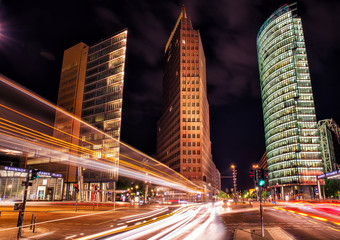 berlin, potsdamer platz at night