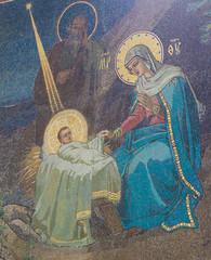 Fototapete - Mosaic of Nativity Scene at Christmas