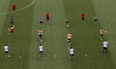 Germany's national soccer team players attend a training session at the Arena Pernambuco in Recife