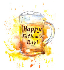Beer glass and note for Fathers day. Watercolor