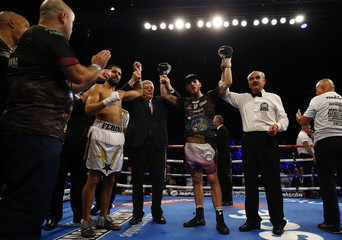 Sam Eggington celebrates after winning the fight against Cerefino Rodriguez