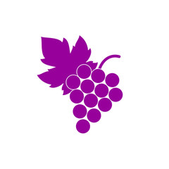 Bunch of grapes with leaf flat icon.