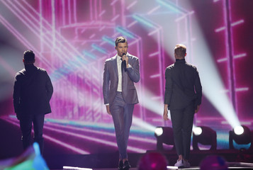 "Sweden's Robin Bengtsson performs with the song ""I Can't Go On"" dur-ing the Eurovision Song Contest 2017 Grand Final at the International Exhibition Centre in Kiev"