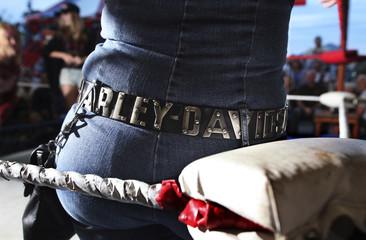 A biker watches the festivities during the Champion Midget Wrestling event at Suck Bang Blow biker bar in Murrells Inlet