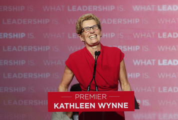 Ontario Liberal Party leader Kathleen Wynne speaks at her election party headquarters in Toronto