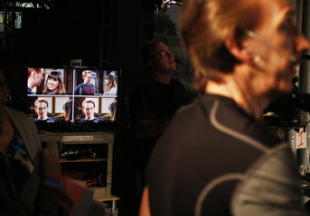 "Actors Eric Nelsen and Denise Tontz are seen on video monitors during the filming of the soap opera ""All My Children""  in Stamford, Connecticut"