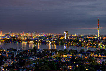 Hamburg, Germany, panorama at night
