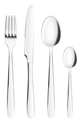 fork, knife, spoon, teaspoon, clipping path, cutlery on white background, isolated