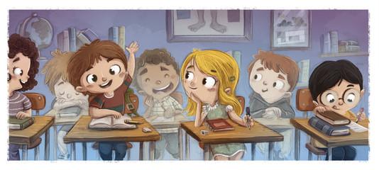 niños estudiando en el colegio