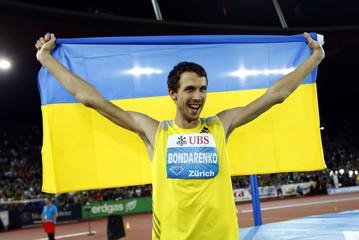 Bondarenko of Ukraine celebrates after winning the men's high jump event during the Weltklasse Diamond League athletics meeting in Zurich