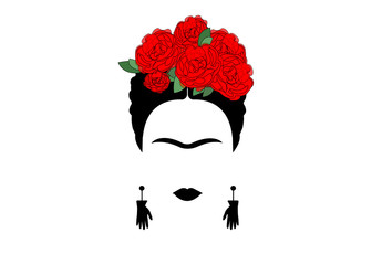 portrait of Mexican or Spanish woman minimalist Frida with earrings hands and red flowers, vector isolated