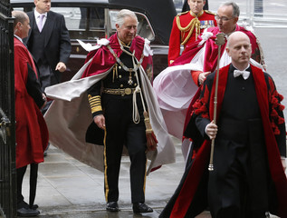 Britain's Prince Charles arrives for a Service of the Order of the Bath at Westminster Abbey in London