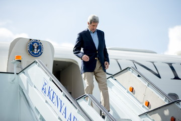 U.S. Secretary of State John Kerry arrives at Nairobi Jomo Kenyatta International Airport