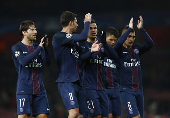 Paris Saint-Germain's Maxwell, Thiago Motta, Hatem Ben Arfa and Marco Verratti applaud fans after the game