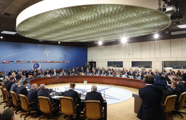 NATO Secretary General Rasmussen delivers a speech at the start of a NATO-Russia foreign ministers meeting at the Alliance headquarters in Brussels