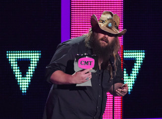 "Musician Chris Stapleton accepts the Break Through Video of the Year award for ""Fire Away"" at the 2016 CMT Music Awards in Nashville"