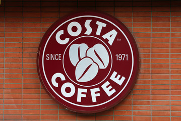 A Costa coffee shop logo is pictured at Hamra street in Beirut