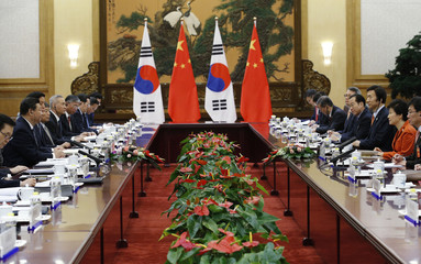 South Korea's President Park attends a meeting with with China's President Xi at the Great Hall of the People, on the sidelines of the Asia Pacific Economic Cooperation (APEC) meetings, in Beijing