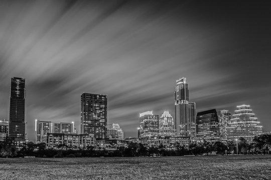 downtown austin skyline cityscape at night