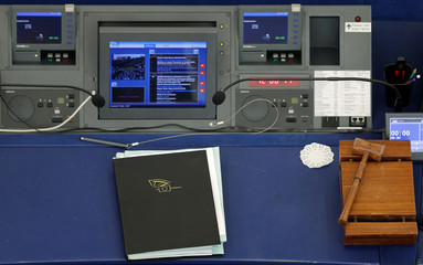 The desk of the President of the European Parliament is seen ahead of a voting session at the European Parliament in Strasbourg