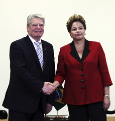 Brazil's President Rousseff greets her German counterpart Gauck during the Brazil-Germany Economic Meeting in Sao Paulo