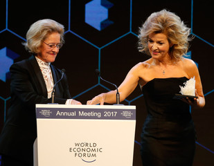 German violinist Mutter receives the Crystal Award by Hilde Schwab, wife of WEF Executive Chairman and founder Klaus Schwab during the annual meeting of the Forum in Davos