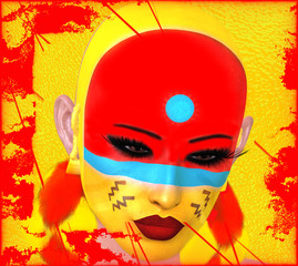 Native American Woman with abstract colorful painted face in or unique 3d render art style. Perfect for themes or projects on diversity, fantasy, mystery, culture, make up and more.